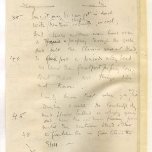 Much corrected draft in pencil of 'The Old Vicarage, Grantchester', entitled 'The sentimental exile'. Archive Centre, King's College, Cambridge. RCB/V/1 ff.57v.