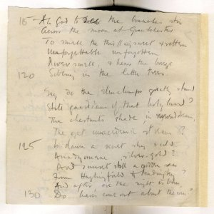 Much corrected draft in pencil of 'The Old Vicarage, Grantchester', entitled 'The sentimental exile'. Archive Centre, King's College, Cambridge. RCB/V/1 ff.58v.