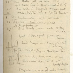 Much corrected draft in pencil of 'The Old Vicarage, Grantchester', entitled 'The sentimental exile'. Archive Centre, King's College, Cambridge. RCB/V/1 ff.59r.