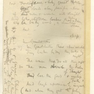 Much corrected draft in pencil of 'The Old Vicarage, Grantchester', entitled 'The sentimental exile'. Archive Centre, King's College, Cambridge. RCB/V/1 ff.59v.