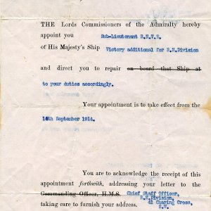 Appointment to Sub-Lieutenant in the Royal Naval Volunteer Reserve. 15 September 1915. Archive Centre, King's College, Cambridge. RCB/Xa/11