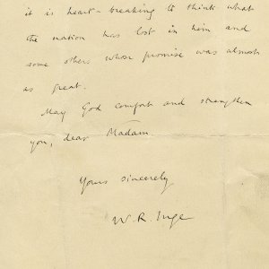 First page of a letter to Mary Ruth Brooke, enclosing his sermon. Archive Centre, King's College, Cambridge. RCB/Xb/2.