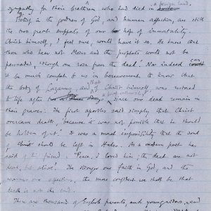 Fourth page of notebook containing Dean Inge's sermon. Archive Centre, King's College, Cambridge. RCB/Xb/2.