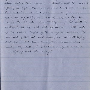 Final page of notebook containing Dean Inge's sermon. Archive Centre, King's College, Cambridge. RCB/Xb/2.