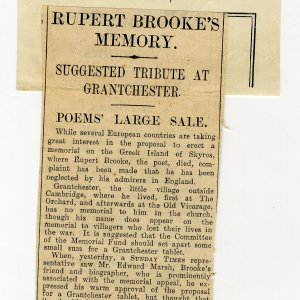 •Newspaper cutting sent to Mary Ruth Brooke by a clippings agency. Taken from Sunday Times, 9 February 1930. Archive Centre, King's College, Cambridge. RCB/Xd/23.