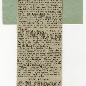 Review of The collected poems of Rupert Brooke, with a memoir [by E. Marsh]. Cutting taken from Daily Express, 1 August 1918. Archive Centre, King's College, Cambridge. RCB/Xd/29.
