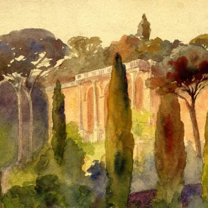 Watercolour of the Pincian Hill, Rome (REF/4/9)