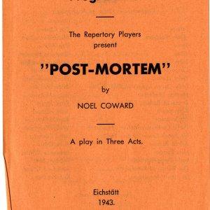 Programme for the world premiere of Noel Coward's Post Mortem