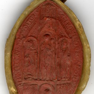 Seal of Romero, Papal Chaplain on a citation from the court of Rome, 1463 (FOR/50)