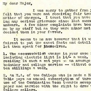 Letter to RAF Major from the Bursar about the College's room rates for billeted officers
