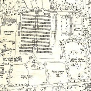 1927 Ordnance Survey map showing the military hospital (rows of huts) on the old College sports ground. (CAM/200)