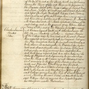 The Protocollum books record Simeon's election as a Fellow. (KCAC/2/1/6 page 212)
