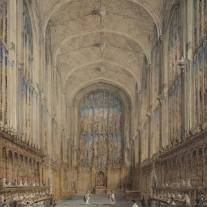 The Chapel in 1797, probably much as it was when Simeon took his Easter Communion. (Richard Bankes Harraden, 'View of the Choir of King's College, Cambridge', 1797, watercolour. Photograph by Adrian Boutel and Elizabeth