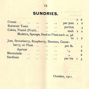 Sundries available in the buttery (1911)