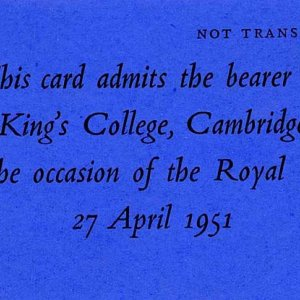 Ticket to enter College on the occasion of the Royal Visit, 1951 (Coll 1372)
