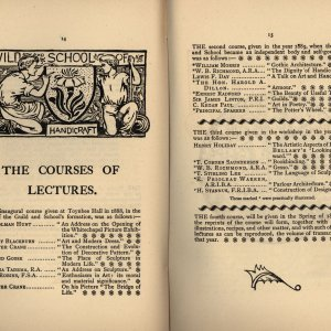 Programme of lectures delivered at the Guild and School of Handicraft. [Ashbee (1890) 'Transactions of the Guild & School of Handicraft, vol. I., 1890', pp.14-5]