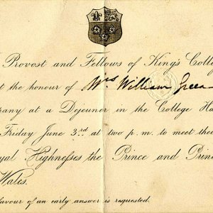 Invitation to W.C. Green, Fellow 1854, to join the Royal Party for luncheon in Hall, 1864. (WCE/4/2)