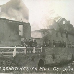 Fire at Grantchester Mill Oct. 30th 1928. Cambridgeshire Collection at Cambridge Central Library. Y.Gra.K28.36165.