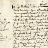 Mark of Matthew Whinn, Notary Public on the admission of James Fleetwood to the Provostship, 1660. (KCAC/2/1/3/210)